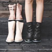 玛菲玛图 秋天靴子女2017新款真皮单鞋欧美低筒倒靴复古英伦风学生马丁短靴3301-8