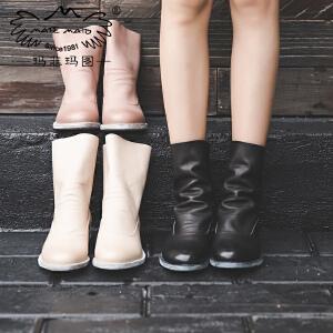 玛菲玛图靴子女秋季新款中筒靴中跟平底圆头单靴前系带皮带扣羊皮军靴3301-8