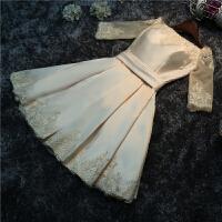 新款短款小礼服蕾丝连衣裙宴会晚礼服伴娘服短裙敬酒服冬装