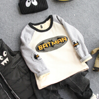 儿童加绒打底衫秋冬男童插肩袖卡通套头加厚长袖T恤宝宝卫衣