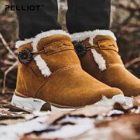 伯希和户外雪地靴 男女防滑耐磨加绒休闲鞋保暖徒步鞋男女靴