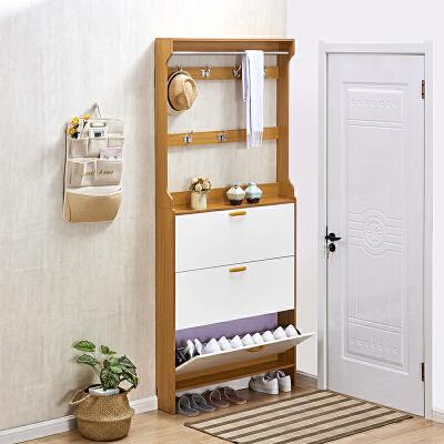 超薄鞋柜17cm简约现代鞋柜家用门口大容量组装翻斗式小鞋柜带衣架
