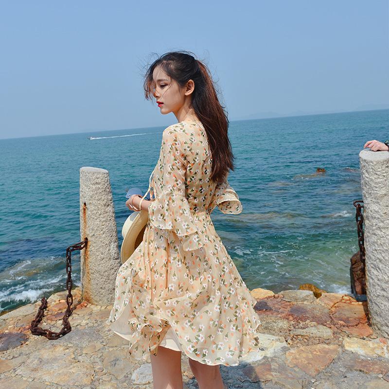 谜秀雪纺连衣裙女装夏2018新款韩版甜美高腰显瘦A字碎花裙子潮