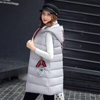 2018秋冬季新款韩版修身连帽羽绒棉马甲女中长款加厚坎肩马夹外套