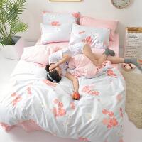ins床上四件套全棉纯棉1.8床单被套被子公主风网红三件套床上用品 桔红色 粉樱漫舞