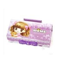 守护甜心女孩密码锁铅笔盒 可爱卡通纸质文具盒 多功能带镜子提手