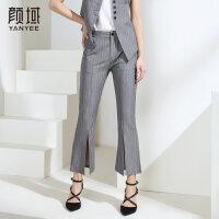 颜域品牌女装2018夏季新款时尚商务格纹开叉喇叭裤修身百搭裤子女