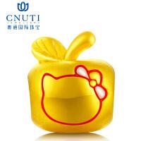 CNUTI粤通国际珠宝 黄金转运珠 3D硬金足金手链串珠转运珠 黄金小苹果 团团圆圆 约1.1g