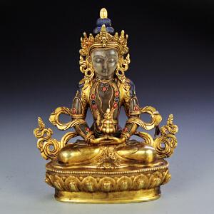 紫铜嵌水晶宝石鎏金菩萨像