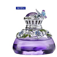 汽车香水饰品金属镶钻车用香熏车载香水座创意摆件礼品 紫瓶 海洋梦幻香型