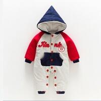 婴儿连体衣男女宝宝衣服保暖加厚哈衣新生儿夹棉秋冬外出爬爬服