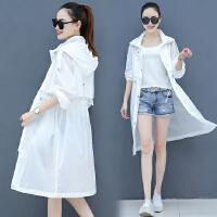 防晒衣女中长款2019夏季新款薄款白色防晒服流行仙女长款风衣外套