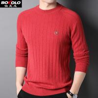 伯克龙男士纯羊毛衫 秋冬季新款100%羊毛针织衫男装青中老年套头圆领毛衣 Z8010