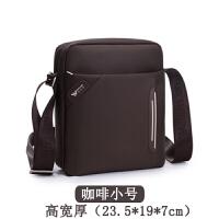 牛津布斜挎包男包单肩包男士包包商务休闲包帆布包竖款背包 咖啡色小号
