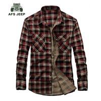 AFS JEEP战地吉普男士长袖衬衫纯棉宽松休闲大码长袖格子1636