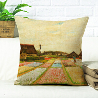 美式梵高抱枕被子两用靠枕油画向日葵星空杏花棉麻沙发靠垫