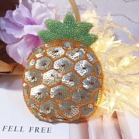 杜鹃珠绣手工串珠原创设计夏日新品菠萝零钱硬币耳机包 升级款亮片