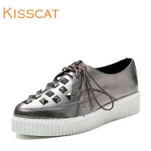 接吻猫真皮鞋牛皮低跟深口单鞋牛津鞋女DA76581-50