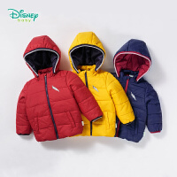迪士尼Disney童装 冬季新品男童外套前开带帽可拆卸夹棉上衣宝宝外出保暖衣服184S1068