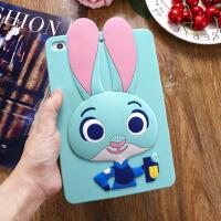 苹果ipad mini2硅胶套迷你3/4保护套新ipad5兔朱迪防摔软壳air1/2 mini1/2/3 萌兔子薄荷绿
