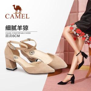 Camel/ 骆驼女鞋 2018春季新款 通勤尖头高跟鞋简约腕带浅口粗跟单鞋女