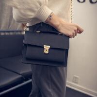 女包手提包小包包日韩版简约小方包链条单肩包斜挎包 黑色
