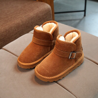 冬季儿童雪地靴男童棉鞋加绒保暖软底防滑女童靴子宝宝中筒靴