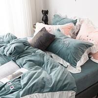 韩式小雏菊水晶绒四件套冬季公主风加厚宝宝绒床单被套床上用品