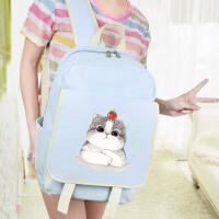 帆布双肩包软妹书包中学生女韩版校园可爱初中小学生韩国森系猫咪 浅蓝色 嘟嘟猫