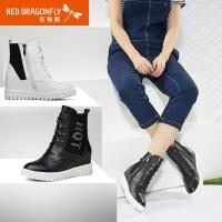 【领�幌碌チ⒓�120】红蜻蜓真皮女棉鞋 冬季新款正品休闲内增高短筒女靴女鞋