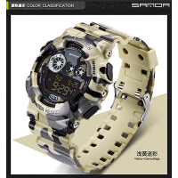 三达迷彩美国冷光电子防水户外运动潜水登山防震男士手表手表配件