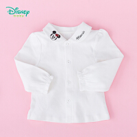 【2件3.5折到手价:48.3】迪士尼Disney童装女宝娃娃领长袖衬衫秋季新品米白纯棉翻领上衣衬衣193S1159
