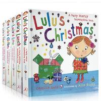【全店300减100】现货 Lulu 我爱露露系列5册 英文原版绘本儿童触摸操作纸板书 Lulu's Loo/Lunch