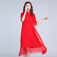 2018夏季新款女装复古中国风旗袍裙红色连衣裙中长款打底裙潮