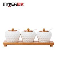 【当当自营】谜家 陶瓷调料盒调味罐调味盒套装厨房用品三件套 白色