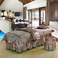 提花美容床罩四件套纯棉欧式按摩洗头美容院床套四件套床单