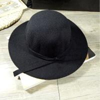 韩国男童女童亲子礼帽母女英伦圆顶羊毛呢出游大帽檐儿童遮阳帽子