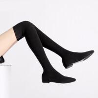 连袜靴女过膝袜子长靴秋靴2018新款春薄弹力丝袜靴女过膝靴性感显瘦平底连袜靴 TBP