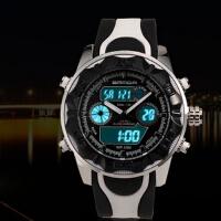 三达表正品三针双显冷光电子表防水户外登山防震休闲运动男士手表