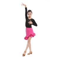 儿童拉丁舞服装考级女童拉丁练功服春夏季幼儿拉丁演出表演服长袖 玫红色长袖 玫红长袖氨纶