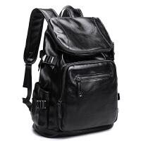 男士双肩包旅行欧美大容量青年学生旅游男包背包书包时尚潮流皮质SN8817 黑色+15天包退+质量三包+送运费险