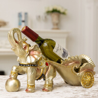 红酒架摆件现代简约客厅大象摆设欧式创意家居电视柜酒柜装饰品 大象拉车红酒架