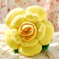 七彩色瑰花抱枕靠垫 圆形大号家居毛绒玩具花形抱枕 (黄色)黄宫优雅 玫瑰花抱枕70厘米