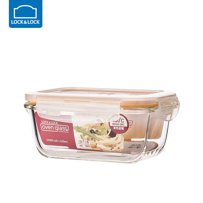 乐扣乐扣耐热玻璃饭盒保鲜盒便当盒密封碗大容量微波炉烤箱可用 420ml【长方形】