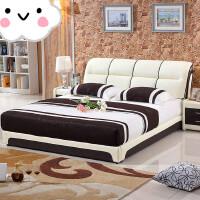 主卧床1.8 皮床皮床软床小户型皮艺床2米双人床现代婚床 床+2个床头柜+5D乳胶床垫 颜色备注默认米白 1800mm