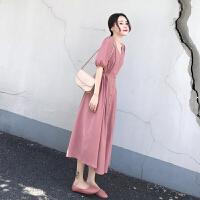 安妮纯2020新款女装夏修身高腰中长款连衣裙女粉色系带收腰短袖v领长裙