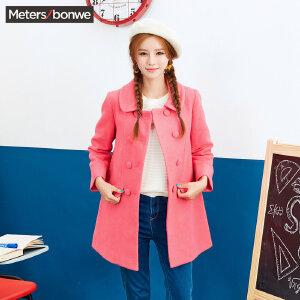 【2件2.5折到手价:60】美特斯邦威毛呢外套女士冬装中长款修身甜美风呢子大衣学生韩版Y