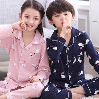 女童睡衣纯棉长袖春秋季中大童男孩小孩7-9岁韩版全棉家居服套装