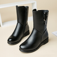 冬季妈妈鞋加绒保暖软底平底真皮中老年女棉靴中筒靴平跟棉鞋