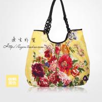 新款时尚潮流女包休闲棉布单肩包购物袋印花手提包包大容量托特包SN9999 黄色 现货到